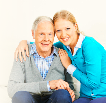 elderly man with his caretaker